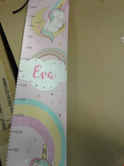Lot 1388 LOT OF 4 ITEMS TO INCLUDE 3X PERSONALISED UNICORN HEIGHT CHART AND 1 GLASS ANGEL BAUBLE  ( GRADE 1 ) .
