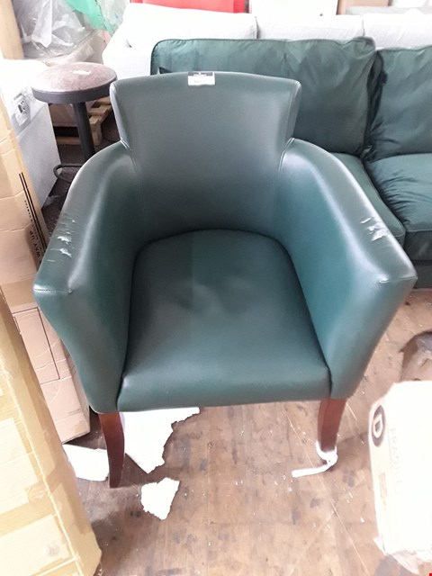 Lot 1017 DESIGNER DARK GREEN FAUX LEATHER ARMCHAIR WITH MAHOGANY EFFECT LEGS