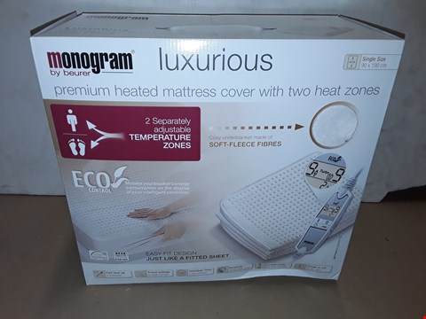Lot 8001 BOXED MONOGRAM LUXURIOUS HEATED MATTRESS COVER - SINGLE 90X190CM