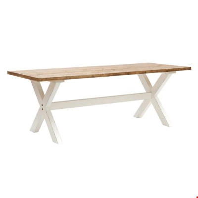 Lot 10139 BOXED DESIGNER WILLIS & GAMBIER NATURAL OAK AND WHITE REVIVAL PLAISTOW FIXED TOP TABLE (1 BOX) RRP £719