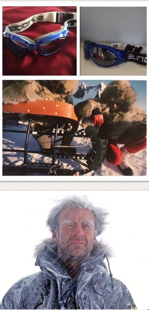 Lot 12 POLAR GOOGLES WORN BY SIR RANULPH FIENNES ON THE 1979 'POLE TO POLE' EXPEDITION