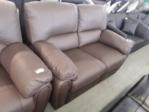 Lot 75 DESIGNER BROWN FAUX LEATHER POWER RECLINING 2 SEATER SOFA