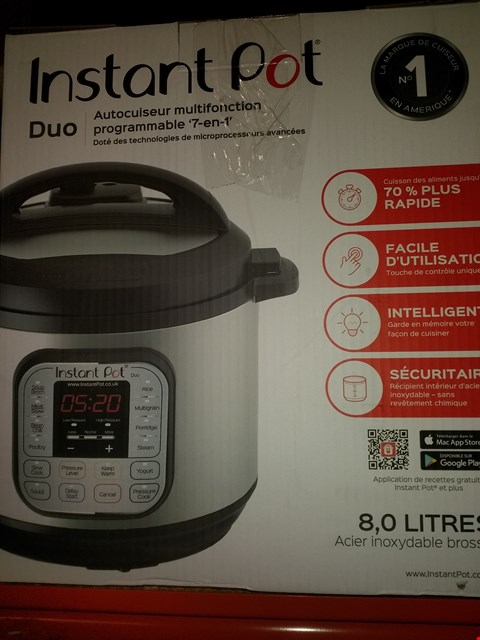 Lot 2045 INSTANT POT 7 IN 1 PRESSURE COOKER (CONDITION OF BOXES MAY VARY FROM PICTURED)