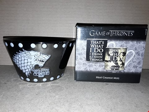 Lot 193 BRAND NEW GAME OF THRONES BOWL AND BOXED HEAT CHANGING MUG