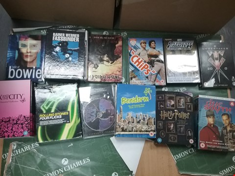 Lot 12035 A BOX OF APPROXIMATELY 25 ASSORTED DVD/BOXSETS TO INCLUDE A BEST OF BOWIE DVD AND A BENIDORM BOXSET