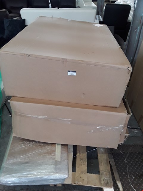 Lot 11095 PALLET OF ASSORTED ITEMS TO INCLUDE 2 GREY CRUSHED VELVET EFFECT DIVAN BED BASE PARTS (140 CM X 100CM) & SOME  FLAT PACK FURNITURE PARTS