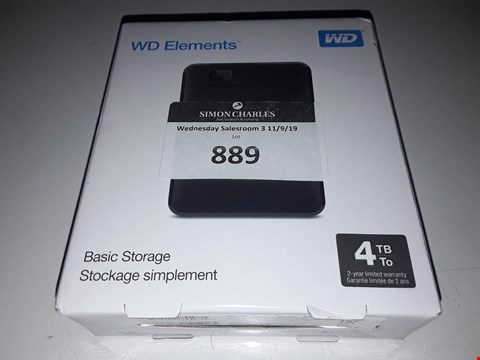 Lot 889 BOXED WD ELEMENTS 4TB STORAGE
