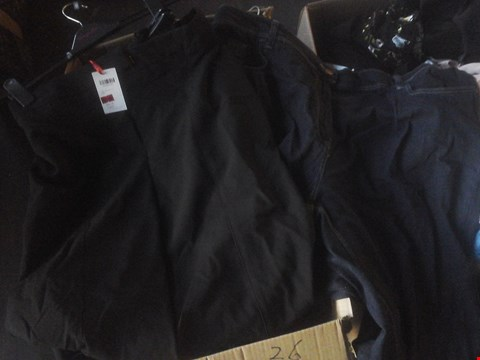 Lot 7073 1 BOX OF APPROXIMATELY 26 CLOTHING ITEMS INCLUDING BLACK WIDE SPLIT TROUSERS AND INDIGO BOOTCUT JEANS