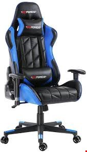 Lot 46 BOXED GT FORCE LEATHER RACING SPORTS OFFICE CHAIR IN BLACK AND BLUE
