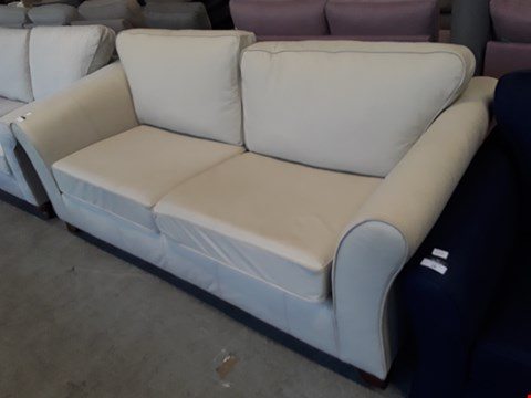 Lot 28 QUANTITY BRITISH DESIGNER CREAM LEATHER 3 SEATER SOFA