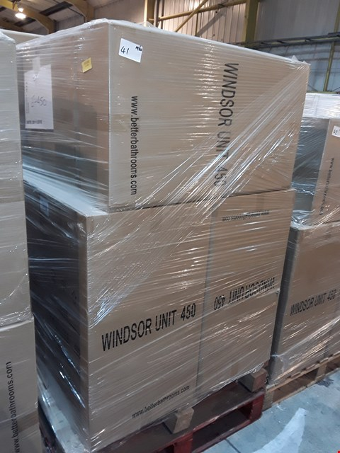 Lot 41 PALLET CONTAINING 9 BOXED 45CM WHITE GLOSS WINDSOR UNITS - E450