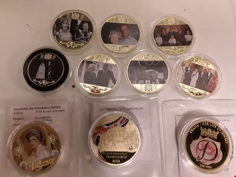 Lot 9377 TEN ROYAL FAMILY THEME COMMEMORATIVE COINS & MEDALS, INCLUDES, 7 × GIBRALTAR CRIWNS WITH FULL COVER REVERSE, 2 × DIANA MEDALS & 2002 GOLDEN JUBILEE MEDAL