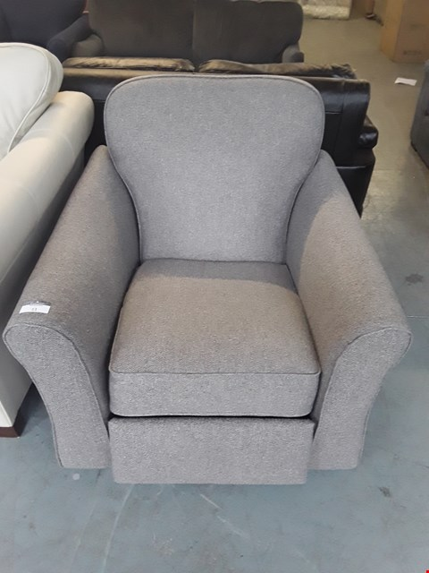 Lot 11 QUALITY BRITISH DESIGNER GREY WEAVE FABRIC PUSH BACK RECLINING ARMCHAIR