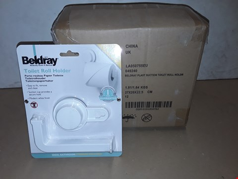 Lot 8017 LOT OF APPROXIMATELY 12 BRAND NEW BELDRAY PLASTIC SUCTION TOILET ROLL HOLDERS