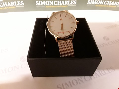 Lot 86 MVMT BOULEVARD WHITE AND ROSE GOLD DETAIL DIAL ROSE GOLD STAINLESS STEEL MESH STRAP LADIES WATCH RRP £129.00