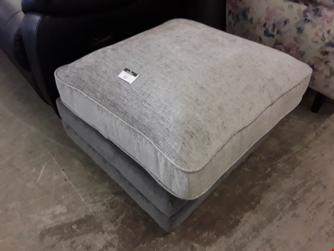 Lot 57 DESIGNER GREY FABRIC SQUARE FOOTSTOOL