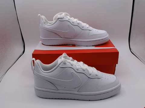 Lot 4072 BOXED PAIR OF SIZE 3 NIKE COURT BOROUGH WHITE TRAINERS