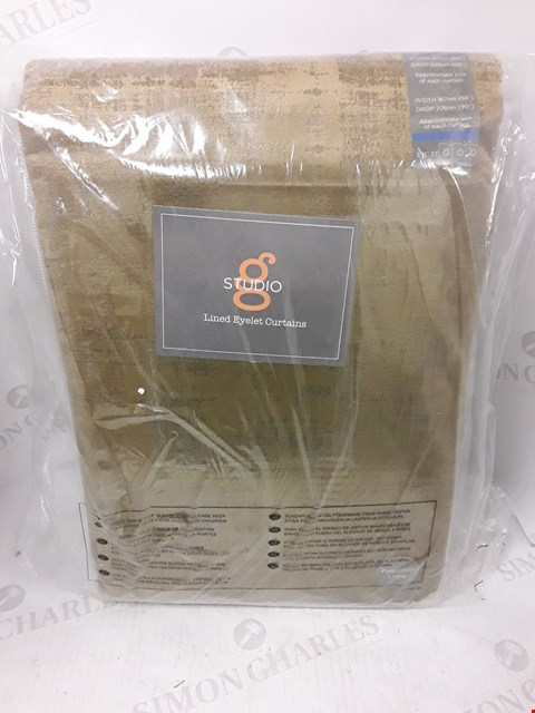 Lot 9155 NAPLES LINED GOLD EYELET CURTAINS APPROXIMATELY 168X229CM RRP £184.00