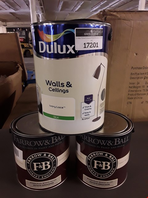 Lot 17201 THREE TINS OF PAINT TO INCLUDE DULUX IVORY LACE AND FARROW AND BALL WIMBOURNE WHITE