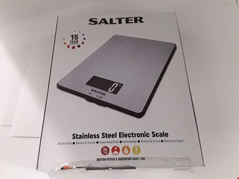Lot 17204 BOXED SALTER STAINLESS STEEL ELECTRONIC SCALE