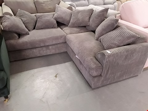 Lot 2033 DESIGNER GREY JUMBO CHORD CORNER SOFA WITH SCATTER CUSHIONS
