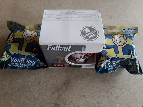Lot 22 3 BRAND NEW ASSORTED FALLOUT ITEMS TO INCLUDE NUKA COLA MUG, VAULT BOY BACKPACK HANGERS
