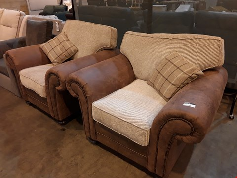 Lot 9050 PAIR OF DESIGNER DISTRESSED TAN FAUX LEATHER & NATURAL FABRIC SCROLL ARM EASY CHAIRS WITH STUDDED DETAIL