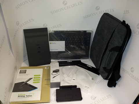 """Lot 18382 LOT OF 9 ASSORTED ELECTRONIC ITEMS AND ACCESSORIES TO INCLUDE GREY FABRIC SHOULDER LAPTOP BAG FITS 13"""" AND SMALLER, MICROSOFT SURFACE PRO TYPE COVER AND 2X MINI DISPLAY PORT TO HDMI ADAPTERS"""