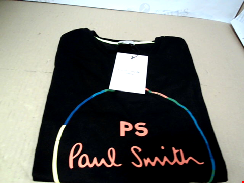 Lot 7111 PAUL SMITH JUNIOR PS NEON ZEBRA LINE BLACK T-SHIRT - SIZE 10A