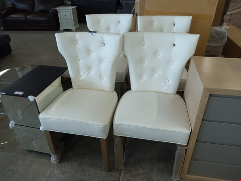 Lot 29 DESIGNER SET OF FOUR RIVIERA MAISON CREAM FAUX LEATHER DINING CHAIRS