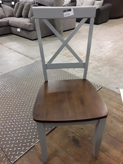 Lot 12105 GREY PAINTED SOLID SEAT X BACK DINING CHAIR