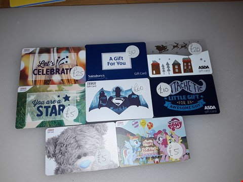 Lot 23 8 ASSORTED GIFT CARDS TO INCLUDE TESCO'S, SAINBURY'S, AND ASDA TOTAL VALUE £160