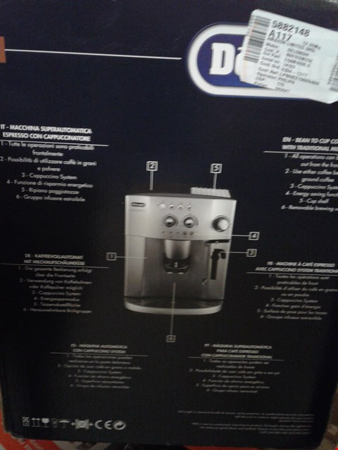 Lot 4639 DELONGHI MAGNIFICA BEAN TO CUP COFFEE MACHINE
