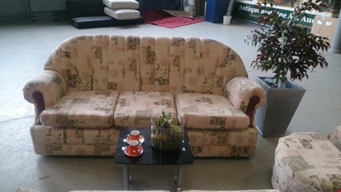 Lot 1 DESIGNER RETRO STYLE BEIGE FLORAL PATTERNED FABRIC 3 SEATER SOFA, 2 SEATER SOFA, ARMCHAIR AND FOOTSTOOL