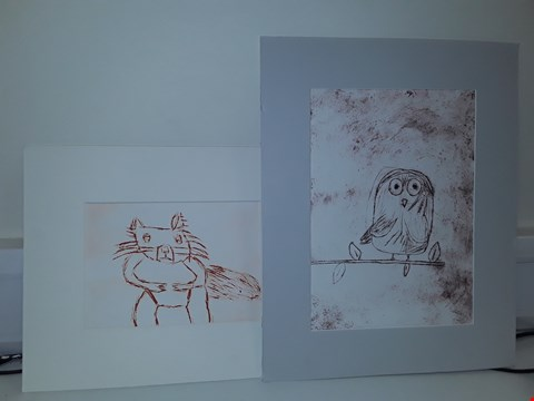 Lot 46 2 X ORIGINAL ART PIECES MOUNTED ON BOARD OWL + SQUIRREL