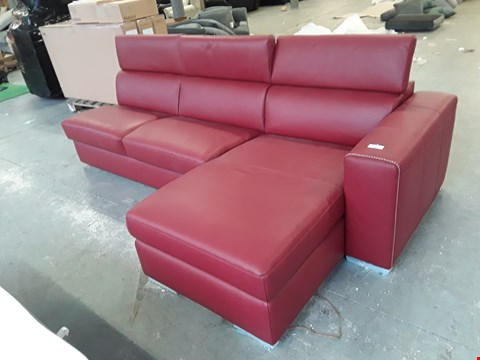 Lot 71 BRAND NEW QUALITY ITALIAN DESIGNER RED LEATHER CHAISE SOFA WITH METAL ACTION SOFA BED AND ADJUSTABLE HEADRESTS