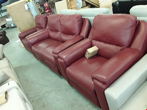 Lot 46 QUALITY ITALIAN DESIGNER, RED LEATHER LOUNGE SUITE COMPRISING AVOLA POWER RECLINING 2 SEATER SOFA, POWER RECLINING ARMCHAIR,  FIXED ARMCHAIR ANF FIXED 3 SEATER SOFA