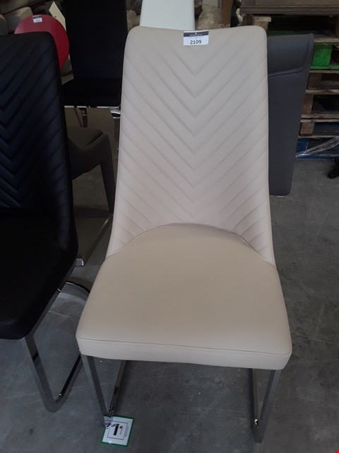Lot 1 DESIGNER CREAM LEATHER DINING CHAIR