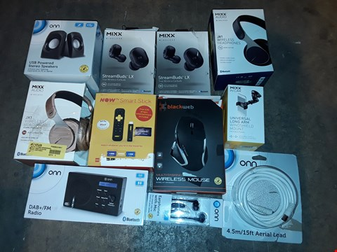 Lot 4617 LARGE QUANTITY OF ASSORTED TECH ITEMS TO INCLUDE ONN CD MICRO SYSTEM, NOW TV SMART STICKS AND STREAMBUDS LX