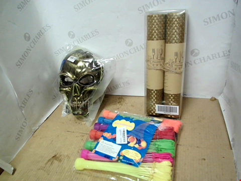 Lot 10243 2 BOXES OF LARGE QUANTITY OF HOUSEHOLD ITEMS TO INCLUDE HALLOWEEN FACE MASK, BAMBOO PLACE MAT, MAGIC BALLOONS WATER BALLOONS ETC.