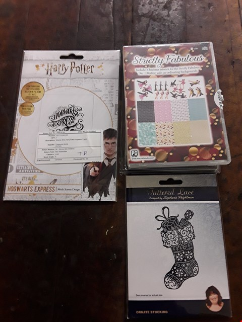 Lot 2702 BOX OF APPROXIMATELY 14  CRAFT ITEMS TO INCLUDE TATTERED LACE STRICTLY FABULOUS COLLECTION, WARNER BROS. HARRY POTTER HOGWARTS EXPRESS DESIGN AND TATTERED LACE ORNATE STOCKING DIE