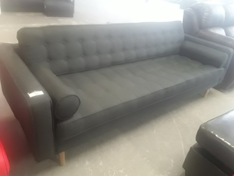 Lot 64 DESIGNER DARK GREY FABRIC VINTAGE STYLE THREE SEATER SOFA WITH BOLSTER ROLL CUSHIONS RRP £599.99
