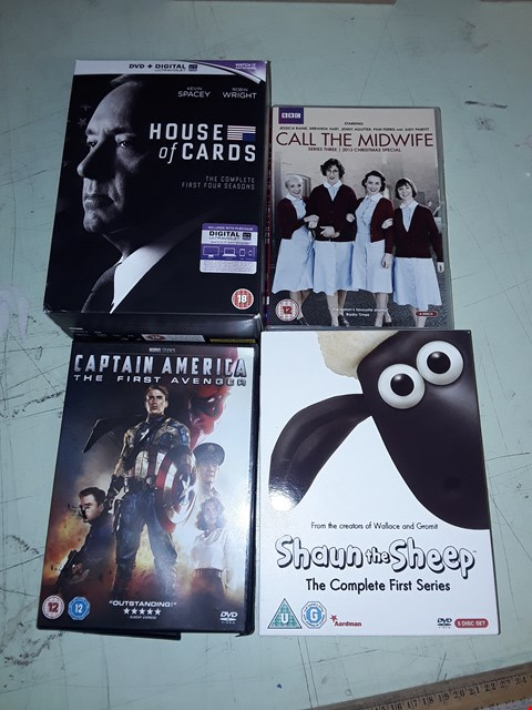 Lot 15725 LOT OF ASSORTED DVDS TO INCLUDE HOUSE OF CARDS, CAPTAIN AMERICA, SHAUN THE SHEEP