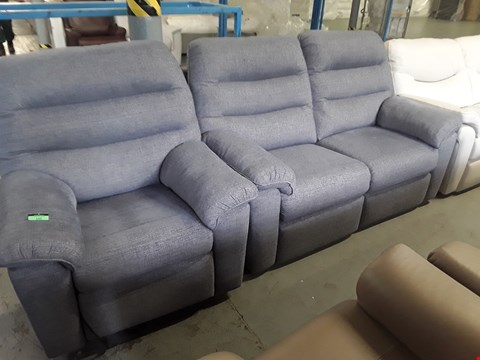 Lot 137 QUALITY BRITISH DESIGNER HARDWOOD FRAMED CHARCOAL FABRIC POWER SUITE COMPRISING TWO SEATER SOFA & EASY CHAIR
