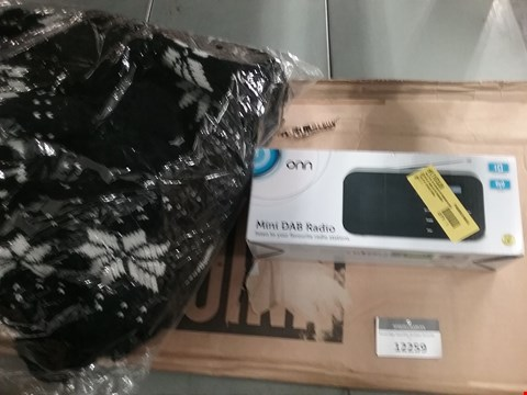 Lot 12259 A POLAROID CLOCK RADIO, A BAG OF 10 BRAND NEW WINTER ACRYLIC BOBBLE HATS AND A BOXED UNICOL OXFORD TV BRACKET