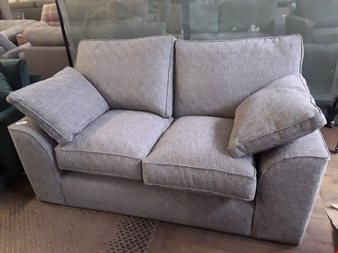 Lot 76 QUALITY DESIGNER BRITISH MADE STAMFORD GREY FABRIC TWO SEATER SOFA WITH BOLSTER CUSHIONS
