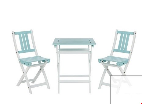 Lot 82 BOXED ANTIGUA BLUE AND WHITE PAINTED WOODEN BISTRO SET RRP £99.99