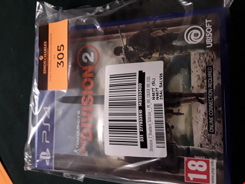 Lot 305 THE DIVISION 2 - PS4  RRP £70.00