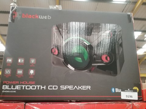 Lot 9193 BOXED BLACK WEB POWER HOUSE BLUETOOTH CD SPEAKER