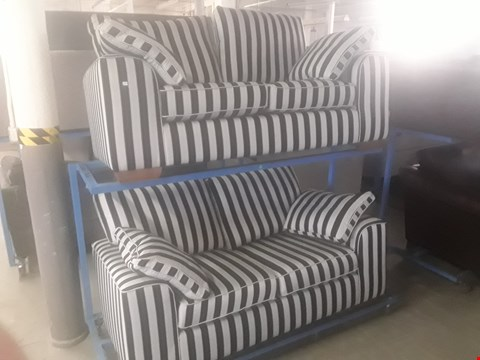 Lot 1 QUALITY BRITISH DESIGNER NANTUCKETT CHARCOAL/GREY STRIPED FABRIC THREE & TWO SEATER SOFAS WITH BOLSTER CUSHIONS